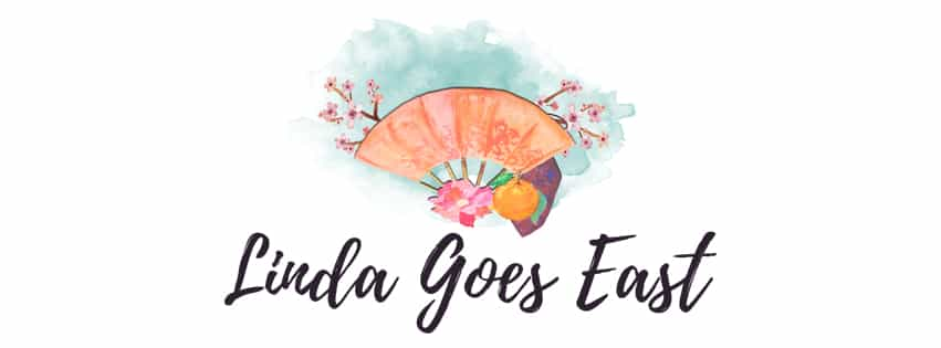 Linda Goes East Fan With Sacura Flowers Banner