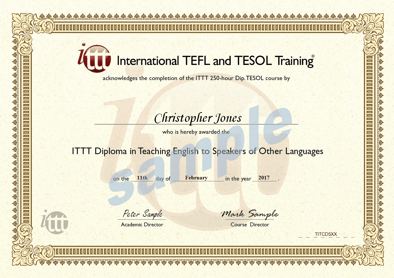 certificate tesol sample tefl template dip ittt course diploma hour completion representation copy true check carlynstudio cert